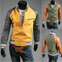 2014 Hot! New Korean men Slim stylish Outerwear stitching Trendy boutique jacket  Male Jacket Male Outerwear 3089