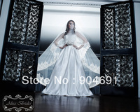 Long Luxury Wedding Veils 2 T 3M Tulle  Wide Lace Edge Bridal Veil Ivory White Cathedral Wedding Mantilla Veil Bridal Veils V145