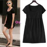 casual dress women new plus size dress 4XLshort sleeved knit cotton slim summer dress 2014