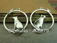 Min. order is $8(mix order) 10pcs 25*31mm Vintage Antique Silver Cat and mouse Charm Pendant  Free Shipping C4526