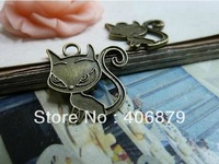 Min. order is $8(mix order) 30pcs 20*20mm Vintage Antique Bronze Cat Charm Pendant  Free Shipping C2119
