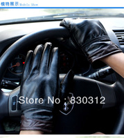 Hot Sales Winter Black Windproof Supersoft Leather Covered Button Riding Warm Buff Paint outdoors Men Gloves Mittens Wholesale
