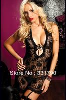Free Shipping 633526 Plus Size Black Pure Lace Lingeries Women's Babydoll top qulaity wholesale