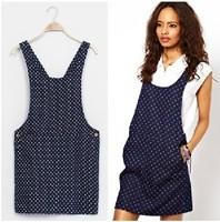 FS520 Spring Summer Vintage Style Polka Dot Denim One-piece dress