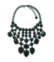 New Fashion Z Brand Black Pendant Tassel Gem Statement Necklace Womens Collar