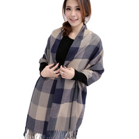 2013 autumn and winter ultra long plaid knitted thermal scarf thick women's muffler scarf large cape