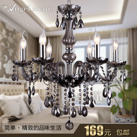 Candle crystal pendant light smoky grey fashion pendant light bedroom lamp living room lights brief lamps crystal lighting