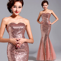 Free shipping Gold pink bridal evening dress fish tail wedding dress evening dress evening dress cheongsam wedding bridal wear