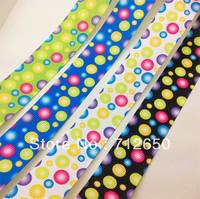 wholesale free shipping 7/8'' 22mm mixed 20 yards colorful dotted circles printed grosgrain ribbon printed dots ribbon