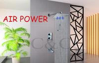 Thermostat Rainfall Bathroom Shower Bathtub Mixer Set With Brass Hand Shower 10 inch Square Air Drop Rainfall Shower Head