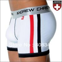 New 2pcs Andrew Christian Men Low Waist Boxer Shorts Modal underwear show-it flashlift boxer GREY/Blue/Red/Black/White free ship