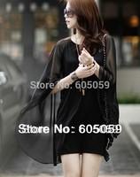 Black women chiffon Casual Brand dress Short dresses cloak shawl free shipping wholesale 2014 New Spring uwc141