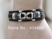 423 Men black leather bracelet Hip hop punk jewelry Friendship bracelet Charm bracelet Birthday gift For boy and man
