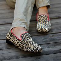 Punk men's fashion hedgehogs shoes leopard print rivet men's gommini breathable summer shoes loafers