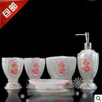 Exquisite bathroom five pieces set five pieces set of resin cup set bathroom supplies gift
