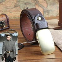 2014 New Arrival ! Casual Fashion Copper Buckle Cowhide Vintage leather belts,Fashion Shows Men's Boutique Belt, Free shipping