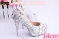 1402 Luxury! Rhinestone Genuine Leather Women's Wedding pumps Princess Shoes 11/14cm high Size36-39