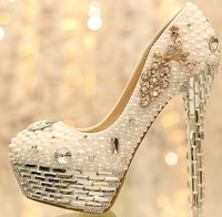 1408 Twinkle! Genuine Leather Crystal Pearl Rhinestone Women's Wedding high heels size37-39