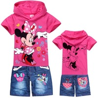 Retail! Children's suit 2014 new girls Clothing Set Kids Minnie Mouse t-shirt+jeans fashion cartoon clothes Sports suit 2 colors