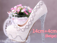 1403-Q Genuine Leather Pearl Rhinestone Women's Wedding  pumps Shoes 12/14cm high 2 colors Size36-39