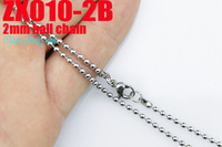 Lobster clasp stainless steel necklace 2mm bead chain beaded necklace 20pcs/lot  fashion ball chian Jewelry ZX010-2B