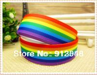 "VM ribbon  Rainbow  Ribbon Printed Grosgrain ribbon 50 yards 7/8""(22MM)  printed grosgrain ribbon 46600-XW-966A-022"