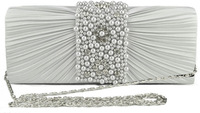 new elegance lady 's pearls beaded evening bags ,Satin silk Clutch bags ,party dress bag with shoulder chain,free Shiping
