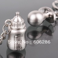Free shipping 120pcs=60pairs/lot Wholesale zinc alloy baby bottle lovers keychain favors baby shower gifts