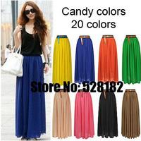 Free Shipping,Fashion ladies dress,Classic Candy-colored chiffon pleated skirt,European&American style Retro chiffon sexy dress