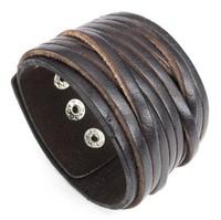 Punk trend of the male men's Men cowhide bracelet boys stainless steel rivet brown