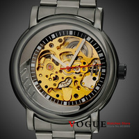 S-07luxury men's fashion military skeleton watches automatic self wind mechanical  watch full steel black gun color band