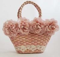 10pieces/lot Pink Older Girls Kids Lace Flower Handbags, C-BG-79