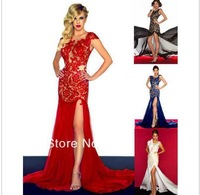Free Shipping Custom made 2014 New Arrival Scoop Neck Sheath Lace Evening Dress Court Train Evening Prom Gown