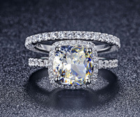 Luxury Quality Synthetic Diamond 3 Carat Cushion Cut Engagement Wedding Ring Set For Women,Bridal Set