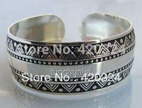 wholesale 10pcs < 5Pair  lady's man ancient carving Tibet Silver Carved Amulet Totem Cuff Bracelet Bangle