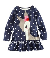 2014 New Girls T-shirt Children Clothing long sleeve dots dear fashion 18M-6T Flounced Flowers Autumn And Winter