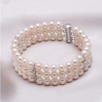 White Freshwater Triple Strand Pearl Bracelet for Women 2014 Charm Bracelet  Free Shipping