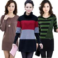 Autumn and winter women medium-long sweater turtleneck sweater basic slim dress shirt thickening sweater outerwear