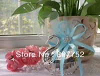 Free Shipping Crystal Swan Desgin Gift Box Sky Blue Color Organza Tulle Wedding Favor Candy Boxes Gift Box