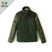 Men's clothing woolen patchwork berber fleece turn-down collar male down coat 1.03kg