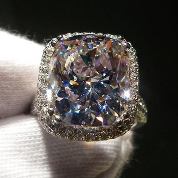 8 carat cushion cut synthetic sona gemstone engagement