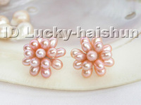 20mm pink freshwater pearls Earrings 18KGP