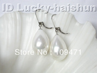 20mm drip white sea shell pearls dangle earrings 14K