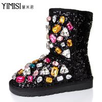 Free shiping Meters 2014 shoes big diamond paillette one piece fur snow boots elevator rhinestone medium-leg boots female