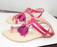 new 2013 pear tassel pendant genuine leather flip style belt flat gladiator sandals cutout women's shoes