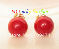 AAA natural Stud 9.5mm round red coral earrings 14K gold