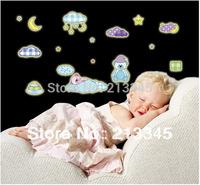 [Saturday Mall] - cartoon cute sleeping bear baby room decor luminous stickers removable wall decals moon stars 0017