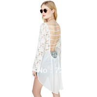 Posterization cutout back deep V-neck big racerback sleeve length dovetail chiffon patchwork lace shirt haoduoyi