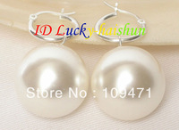 AAA Dangle big 20mm white round sea shell pearls earring 925s