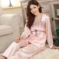 2014 Freeshipping Floral Poplin Full Time-limited Pajamas. Sexy Fashion Nightgown. Ms Elegant Long Sleeves Like Silk Pajamas